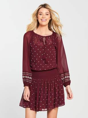 Very Embroidered Smocked Dress - Merlot
