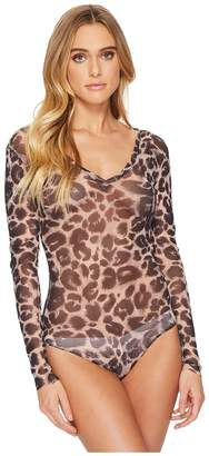 Only Hearts Leopard Tulle V-Neck Bodysuit Women's Jumpsuit & Rompers One Piece