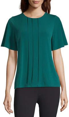 Liz Claiborne Short Sleeve Round Neck Knit Blouse