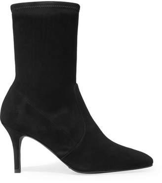Stuart Weitzman Cling Suede Sock Boots - Black