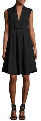 Derek Lam Sleeveless V-Neck Silk Dress, Black