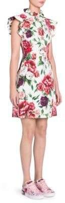 Dolce & Gabbana Ruffle Mockneck Stampa Peonie Dress