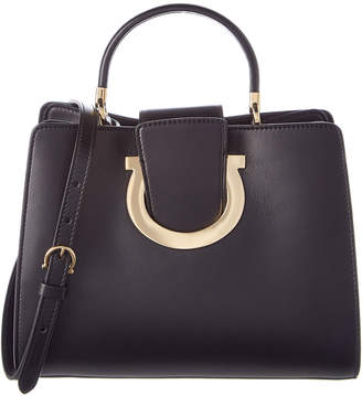 Salvatore Ferragamo Gancini Top Handle Leather Tote