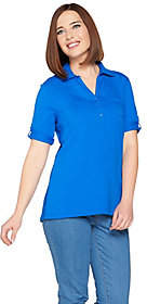 Denim & Co. Essentials Short Sleeve Roll TabPolo Top