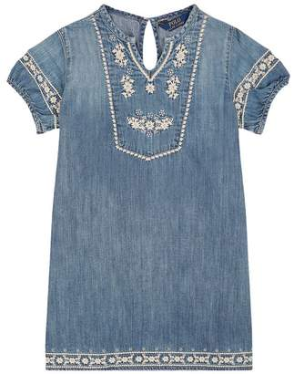 Polo Ralph Lauren Denim Floral Embroidered Dress