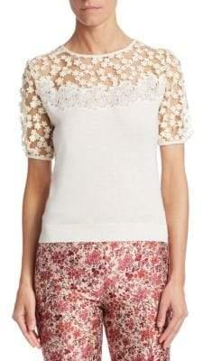 Giambattista Valli Floral Mesh Cashmere& Silk Top
