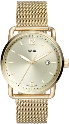 Fossil Men Commuter Gold-Tone Stainless Steel Mesh Bracelet Watch 42mm