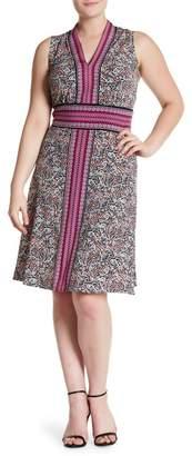 London Times V-Neck Sleeveless Patterned Dress (Plus Size)
