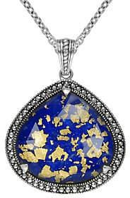 Lapis Suspicion Sterling Doublet & Marcasite Pendant w/ Chain