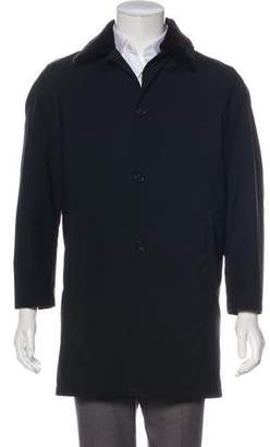Prada Mink-Trimmed Button-Up Coat