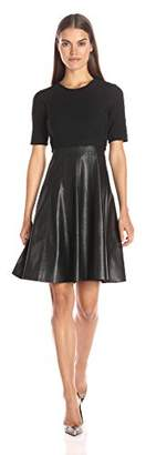 Rebecca Taylor Women's Knit and Vegan Leather Dress
