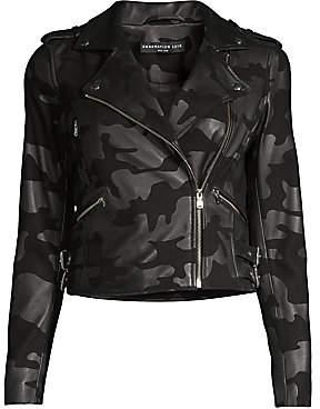 Generation Love Women's Spencer Camo-Print Leather Moto Jacket