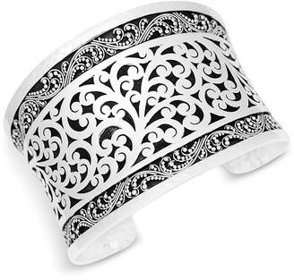 Lois Hill Scroll Work Filigree Large Cuff Bracelet in Sterling Silver