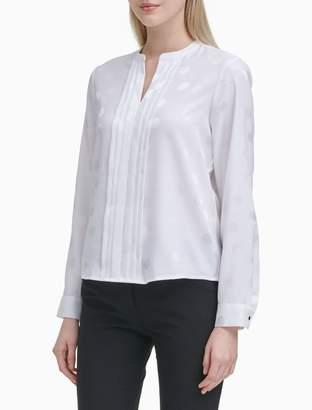 Calvin Klein Shadow Dot Pleated Long Sleeve Blouse