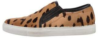 Balmain Leopard Print Ponyhair Sneakers