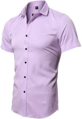 bcde7296d2 Fly London HAWK Men s Casual Dress Shirt Slim Fit Short Sleeve Shirts  Workwear