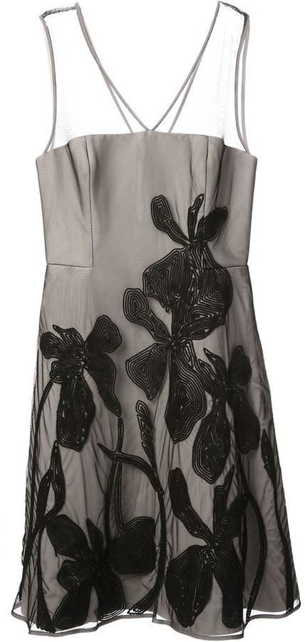 Halston floral embroidered A-line dress