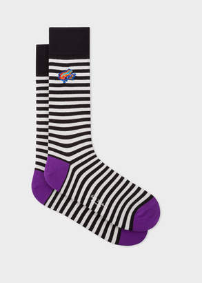 Paul Smith Men's Black And White Stripe Socks With 'Dreamer Frog' Embroidery