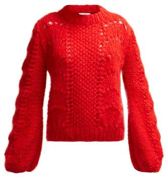 Ganni Julliard Mohair Knit Sweater - Womens - Red