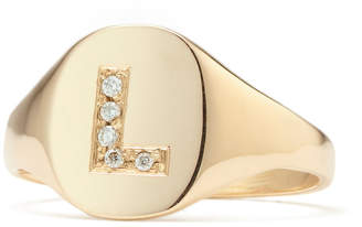 Sarah Chloe Petite Signet Ring Diamond Letter