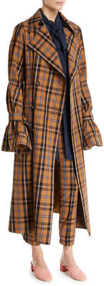 Rokh Double-Breasted Flare-Sleeve Plaid Check Trench Coat