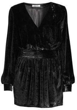 Frame Metallic Mini A-Line Velvet Dress