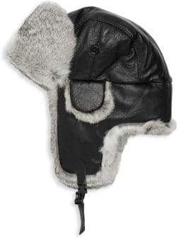 Surell Trooper Rabbit Fur Leather Earflap Hat