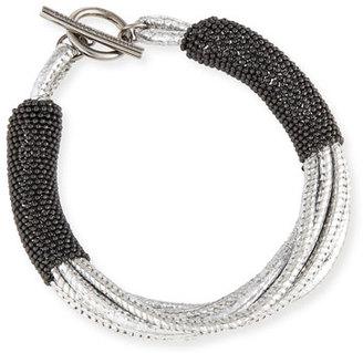 Brunello Cucinelli Metallic Leather Bracelet w/Monili Strands $325 thestylecure.com