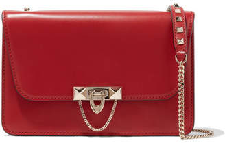 Valentino Garavani Demilune Small Studded Leather Shoulder Bag - Red