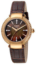 34mm Chain-Bezel Watch w/ Leather Brown/Rose