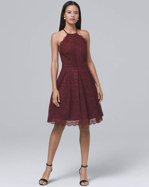 Whbm Lace Fit-and-Flare Dress