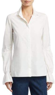 Akris Women's Bell-Sleeve Cotton Poplin Button-Down Shirt - Paper - Size 14
