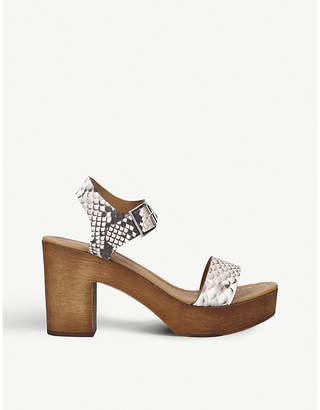 Kurt Geiger Roro snake-embossed leather heeled sandals