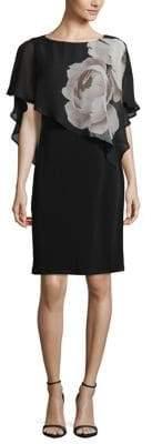 Lori Michaels Floral Chiffon Overlay Sheath Dress