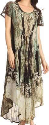 Liliana Sakkas 17807 Short Sleeve Watercolor Batik Dress/ Cover Up - OS