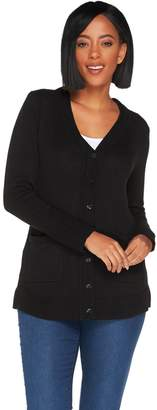 Isaac Mizrahi Live! Long Sleeve V-neck Button Front Cardigan