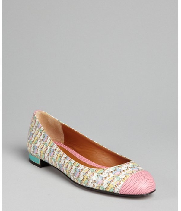 Fendi pink and turquoise patent leather cap toe flats