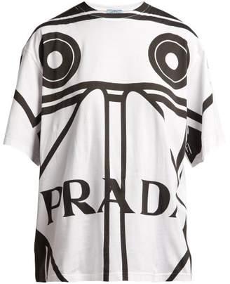 Prada Round Neck Koolhaas Print T Shirt - Womens - White Black