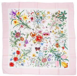 One Kings Lane Vintage Gucci Pink Botanical Floral Silk Scarf