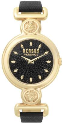Versus By Versace Versus Women's Sunnyridge Extension Black Leather Strap Watch 34mm
