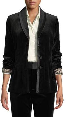 Frame Fitted Velvet Button-Front Blazer Jacket