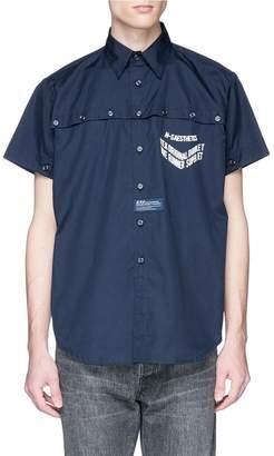 D.TT.K Double button placket slogan print short sleeve shirt