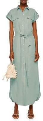 MANGO Tabbed Waist-Tie Maxi Shirt Dress