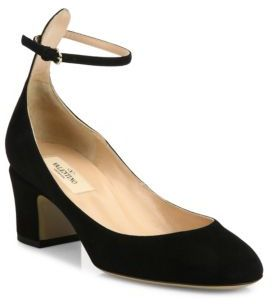 Valentino Tango Suede Ankle-Strap Pumps $795 thestylecure.com