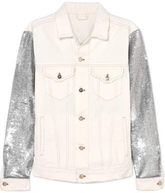 IRO Nanopo Sequined Jersey And Denim Jacket - White