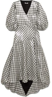 Ganni Lagarde Checked Silk-blend Lamé Wrap Dress - Silver