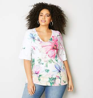 Avenue Large Floral Short Sleeve Top