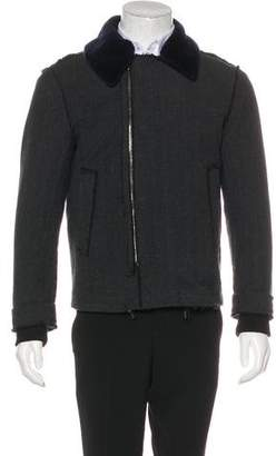 Wooyoungmi Shearling-Trimmed Frayed Jacket