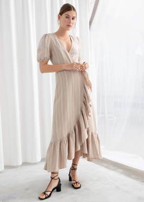 And other stories Ruffled Linen Wrap Midi Dress