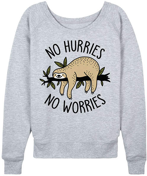 Athletic Heather 'No Hurries No Worries' Slouchy Pullover - Women